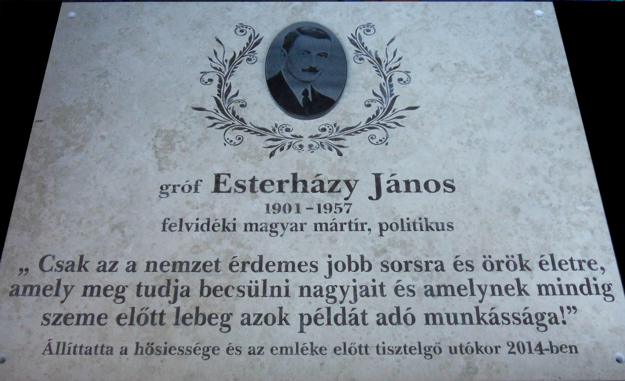 A Somorja Hangja Esterházy-emléktáblát állítana