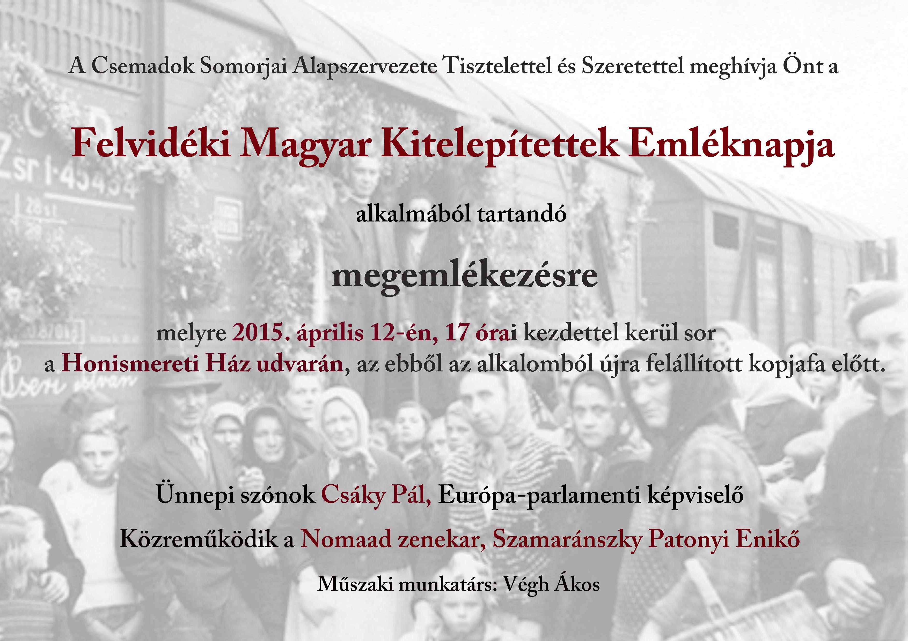 Felvidékről kitelepített magyarok emléknapja: Megemlékezés a Honismereti Ház udvarán